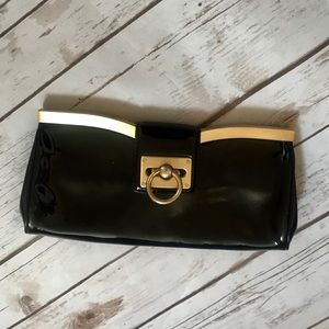 Ann Taylor Black Patent Leather Clutch